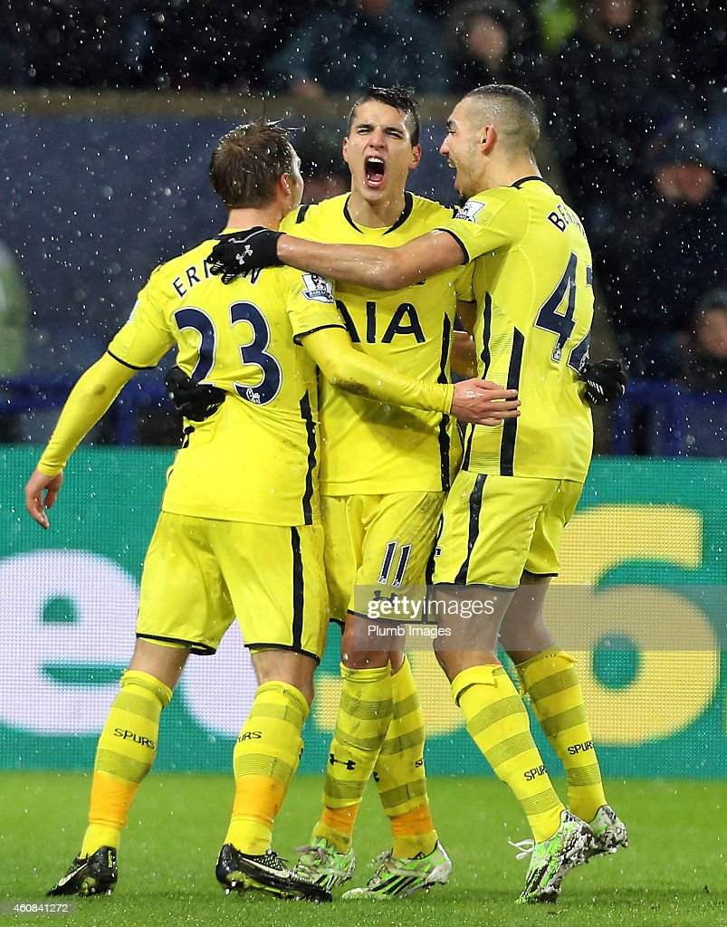 Christian Eriksen of Tottenham Hotspur celebrates after scoring for the visitors to make it 1-2 during the Barclays premier League match between Leicester City and Tottenham Hotspur at The King Power Stadium on December 26, 2014 in Leicester, England.
