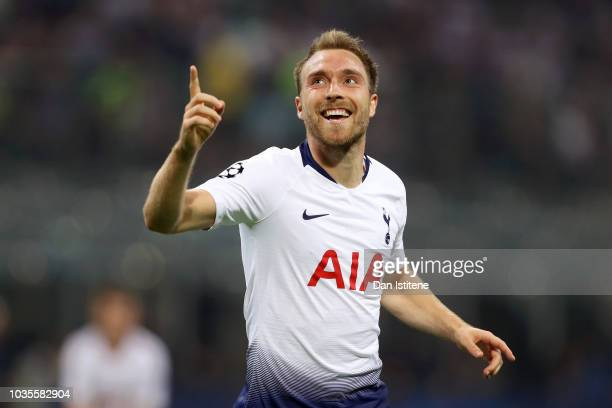 Christian Eriksen of Tottenham Hotspur celebrates after scoring his team's first goal during the Group B match of the UEFA Champions League between...