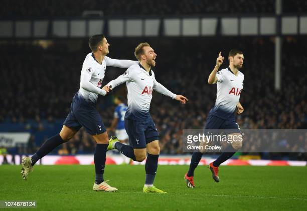 Christian Eriksen of Tottenham Hotspur celebrates after scoring his team's fourth goal with team mate Erik Lamela during the Premier League match...