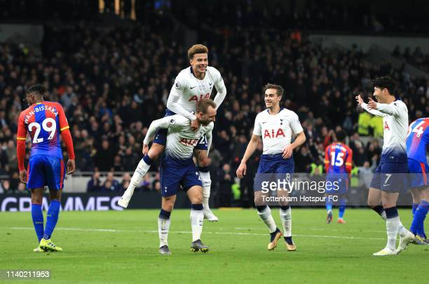 Christian Eriksen of Tottenham Hotspur celebrates after scoring his team's second goal with Dele Alli of Tottenham Hotspur during the Premier League...