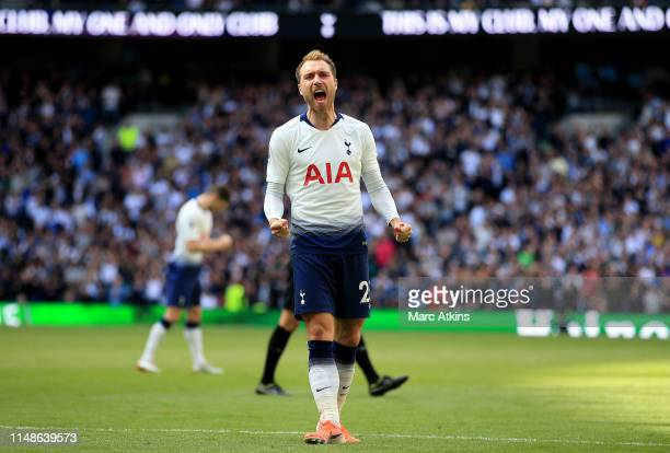 Christian Eriksen of Tottenham Hotspur celebrates after scoring his team's second goal during the Premier League match between Tottenham Hotspur and...