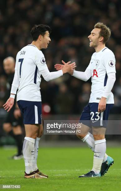 Christian Eriksen of Tottenham Hotspur celebrates after scoring his sides fifth goal with HeungMin Son of Tottenham Hotspur during the Premier League...