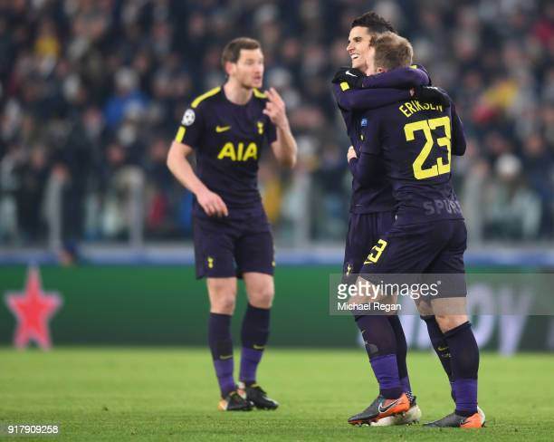Christian Eriksen of Tottenham Hotspur celebrates after scoring his sides second goal with Erik Lamela of Tottenham Hotspur during the UEFA Champions...