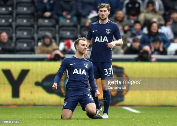 Christian Eriksen of Tottenham Hotspur celebrates after scoring his sides first goal during The Emirates FA Cup Quarter Final match between Swansea...