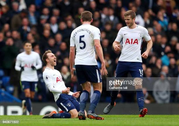 Christian Eriksen of Tottenham Hotspur celebrates after scoring his sides first goal with Jan Vertonghen of Tottenham Hotspur and Eric Dier of...