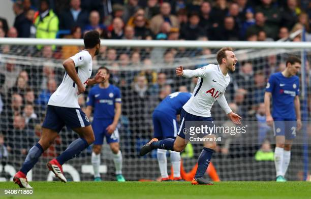 Christian Eriksen of Tottenham Hotspur celebrates after scoring his sides first goal during the Premier League match between Chelsea and Tottenham...