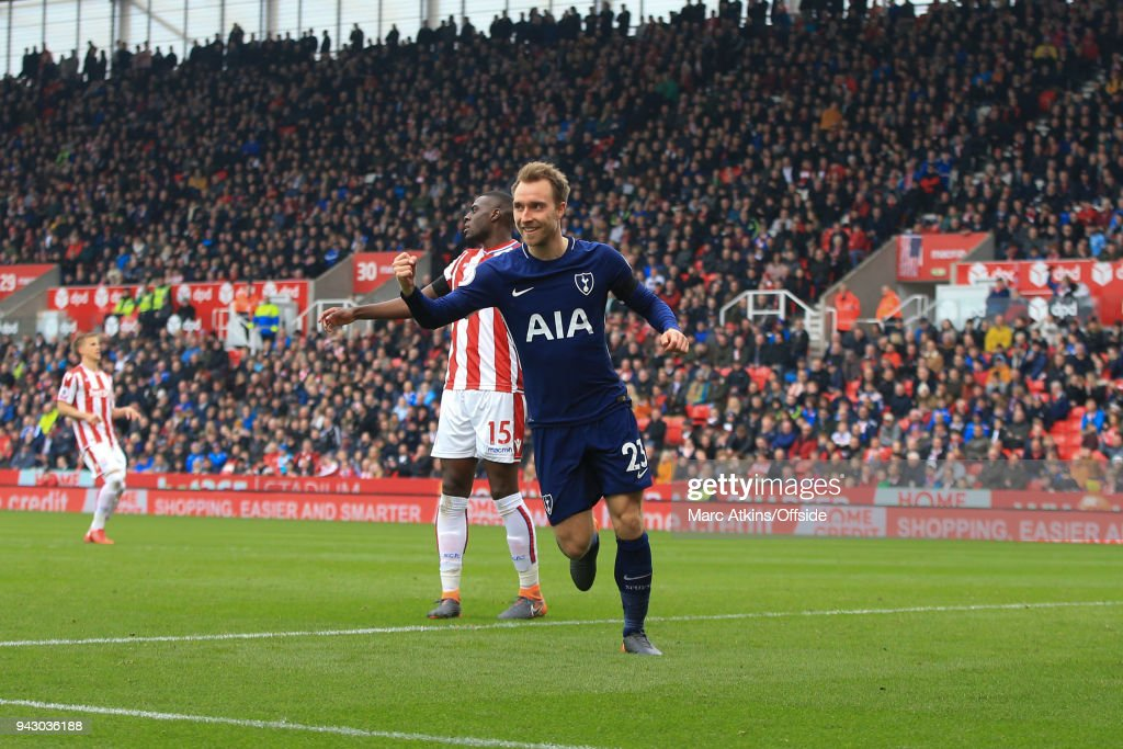 Christian Eriksen of Tottenham Hotspur celebrates during the Premier League match between Stoke City and Tottenham Hotspur at Bet365 Stadium on April 7, 2018 in Stoke on Trent, England.