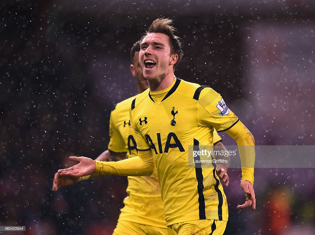 Christian Eriksen of Tottenham Hotspur celebrates scoring from a free kick during the Capital One Cup Semi-Final Second Leg match between Sheffield United and Tottenham Hotspur at Bramall Lane on January 28, 2015 in Sheffield, England.