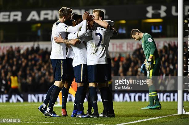 Christian Eriksen of Tottenham Hotspur celebrates scoring his sides second goal with his Tottenham Hotspur team mates during the Premier League match...