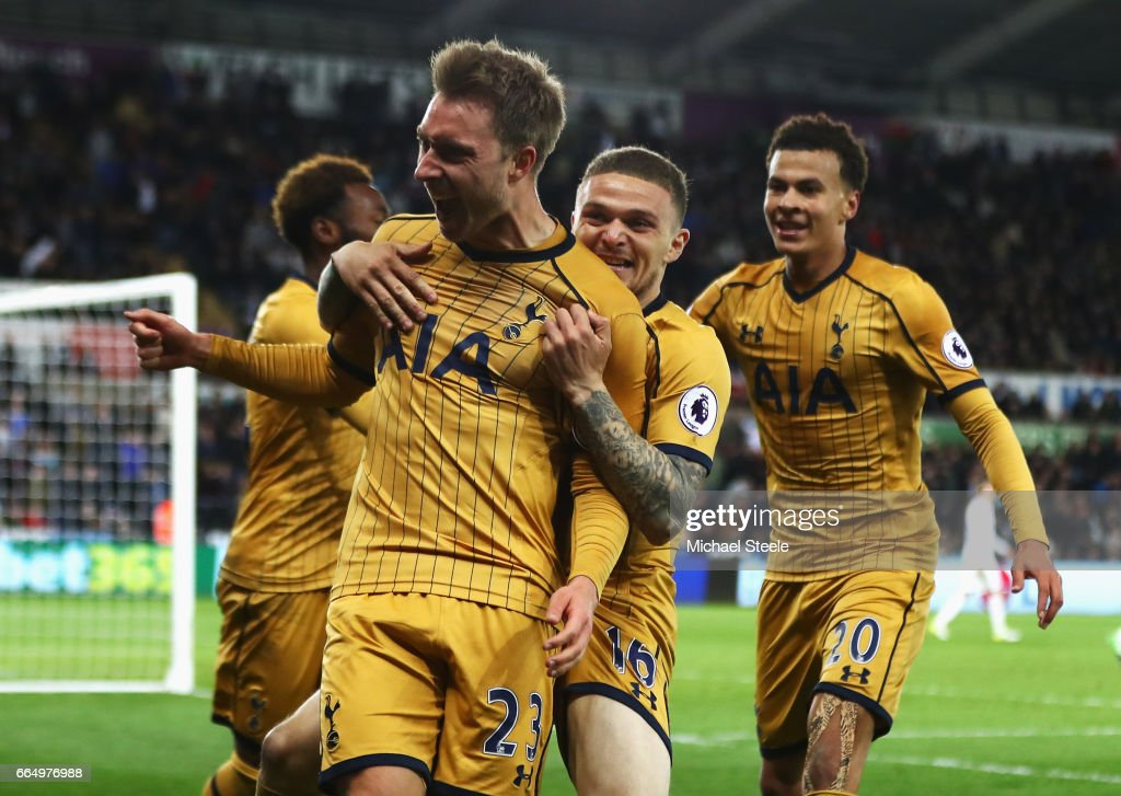 Christian Eriksen of Tottenham Hotspur celebrates scoring his sides third goal during the Premier League match between Swansea City and Tottenham Hotspur at the Liberty Stadium on April 5, 2017 in Swansea, Wales.