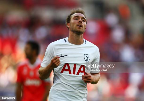 LONDON ENGLAND AUGUST 05 Christian Eriksen of Tottenham Hotspur celebrates scoring his sides second goal during the PreSeason Friendly match beween...