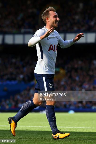 Christian Eriksen of Tottenham Hotspur celebrates scoring his sides second goal during the Premier League match between Everton and Tottenham Hotspur...