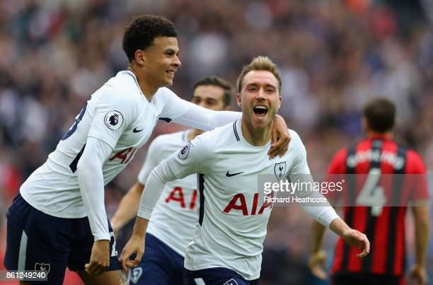 Christian Eriksen of Tottenham Hotspur celebrates scoring his sides first goal with Dele Alli of Totteham Hotspur during the Premier League match...