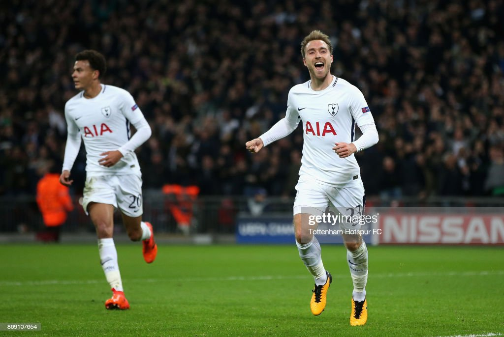 Christian Eriksen of Tottenham Hotspur celebrates scoring his side's third goal during the UEFA Champions League group H match between Tottenham Hotspur and Real Madrid at Wembley Stadium on November 1, 2017 in London, United Kingdom.