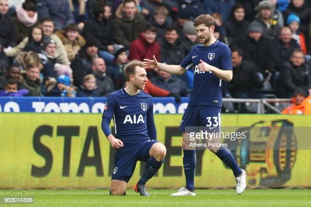 Christian Eriksen of Tottenham Hotspur celebrates scoring his sides first goal of the match during the Fly Emirates FA Cup Quarter Final match...