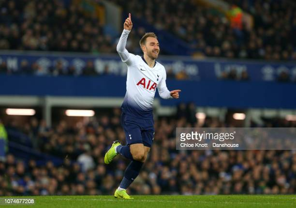 Christian Eriksen of Tottenham Hotspur celebrates scoring his teams 4th goal during the Premier League match between Everton FC and Tottenham Hotspur...