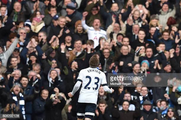 Christian Eriksen of Tottenham Hotspur celebrates scoring his team's third goal during the Barclays Premier League match between Tottenham Hotspur...