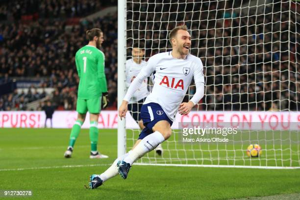 Christian Eriksen of Tottenham Hotspur celebrates scoring the opening goal during the Premier League match between Tottenham Hotspur and Manchester...