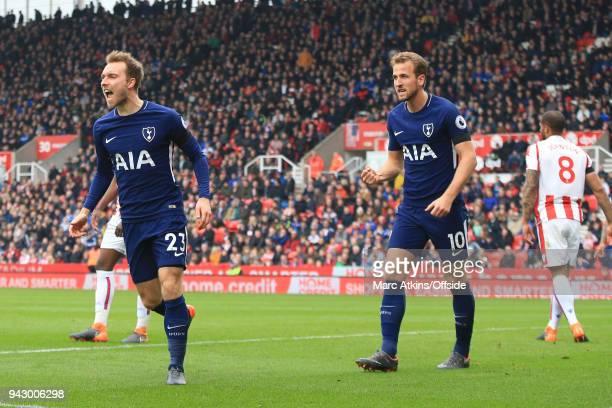 Christian Eriksen of Tottenham Hotspur celebrates scoring their 1st goal during the Premier League match between Stoke City and Tottenham Hotspur at...
