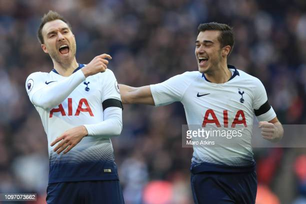 Christian Eriksen of Tottenham Hotspur celebrates scoring their 2nd goal with Harry Winks during the Premier League match between Tottenham Hotspur...