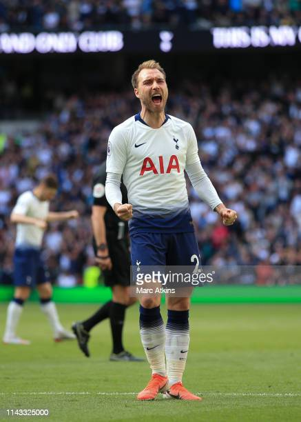 Christian Eriksen of Tottenham Hotspur celebrates scoring their 2nd goal during the Premier League match between Tottenham Hotspur and Everton FC at...