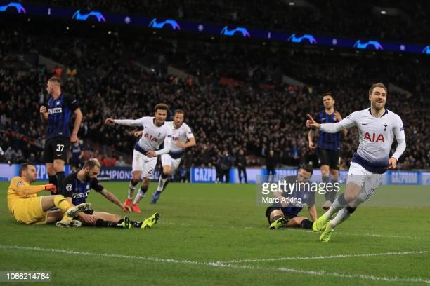 Christian Eriksen of Tottenham Hotspur celebrates scoring their first goal during the Group B match of the UEFA Champions League between Tottenham...