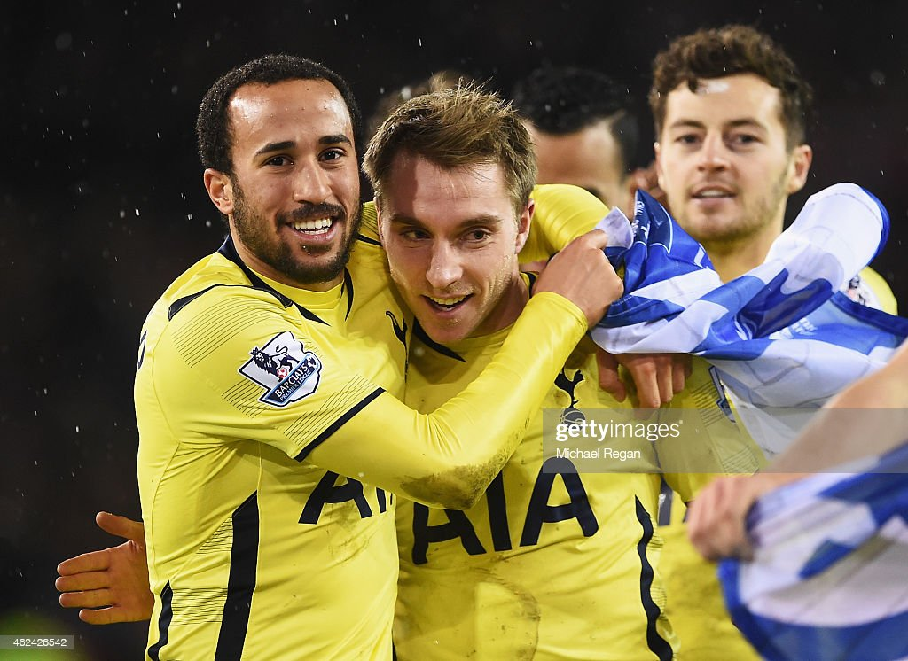 Christian Eriksen of Tottenham Hotspur celebrates with Andros Townsend (L) after the Capital One Cup Semi-Final Second Leg match between Sheffield United and Tottenham Hotspur at Bramall Lane on January 28, 2015 in Sheffield, England.