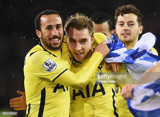 Christian Eriksen of Tottenham Hotspur celebrates with Andros Townsend after the Capital One Cup SemiFinal Second Leg match between Sheffield United...