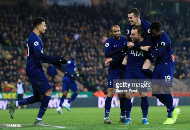 Christian Eriksen of Tottenham Hotspur celebrates with teammates Lucas Moura Giovani Lo Celso Ryan Sessegnon and Dele Alli of Tottenham Hotspur after...