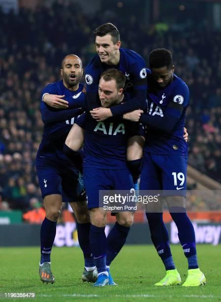 Christian Eriksen of Tottenham Hotspur celebrates with teammates Lucas Moura, Giovani Lo Celso and Ryan Sessegnon of Tottenham Hotspur after scoring...