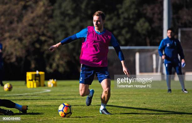 Christian Eriksen of Tottenham Hotspur conducts the ball during a training session during day three of the Tottenham Hotspur midseason training camp...