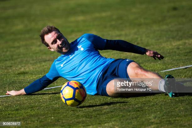 Christian Eriksen of Tottenham Hotspur controls the ball during a training session during day two of the Tottenham Hotspur midseason training camp at...