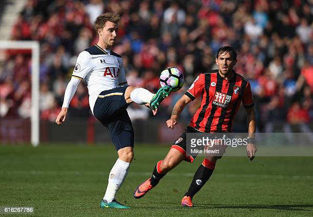 Christian Eriksen of Tottenham Hotspur controls the ball during the Premier League match between AFC Bournemouth and Tottenham Hotspur at Vitality...