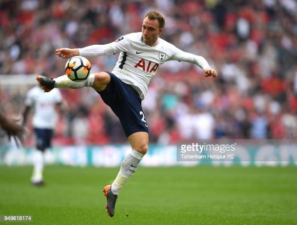 Christian Eriksen of Tottenham Hotspur controls the ball during The Emirates FA Cup Semi Final match between Manchester United and Tottenham Hotspur...
