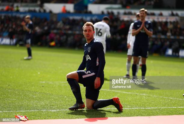 Christian Eriksen of Tottenham Hotspur during The Emirates FA Cup Quarter Final match between Swansea City and Tottenham Hotspur at Liberty Stadium...