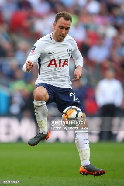 Christian Eriksen of Tottenham Hotspur during The Emirates FA Cup Semi Final match between Manchester United and Tottenham Hotspur at Wembley Stadium...