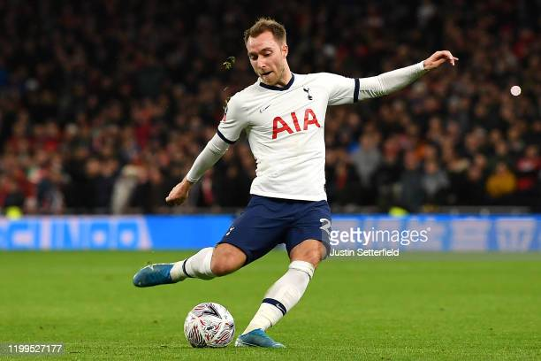 Christian Eriksen of Tottenham Hotspur during the FA Cup Third Round Replay match between Tottenham Hotspur and Middlesbrough at Tottenham Hotspur...