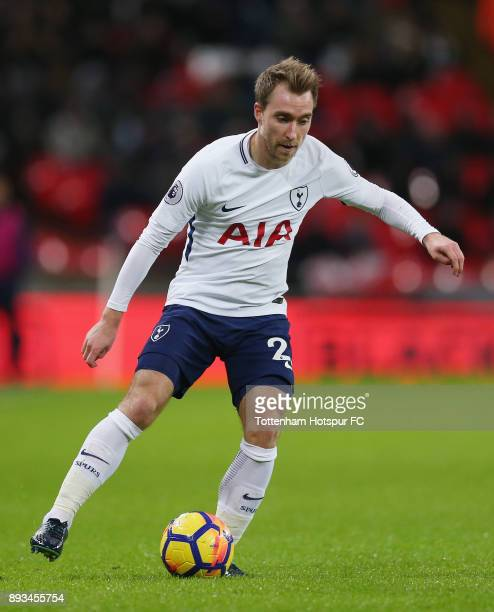 Christian Eriksen of Tottenham Hotspur during the Premier League match between Tottenham Hotspur and Brighton and Hove Albion at Wembley Stadium on...