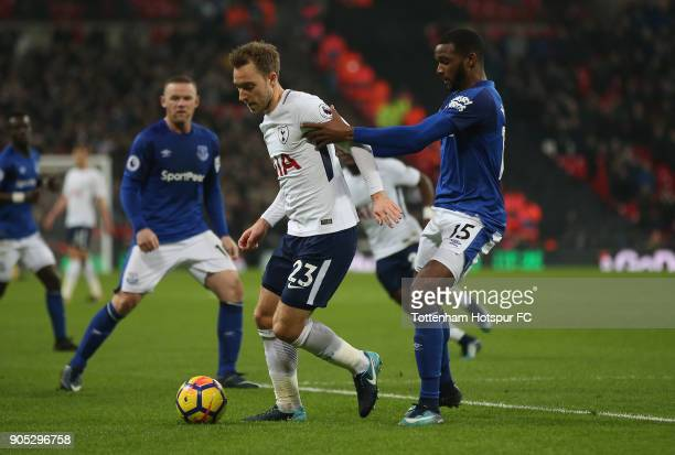 Christian Eriksen of Tottenham Hotspur during the Premier League match between Tottenham Hotspur and Everton at Wembley Stadium on January 13 2018 in...