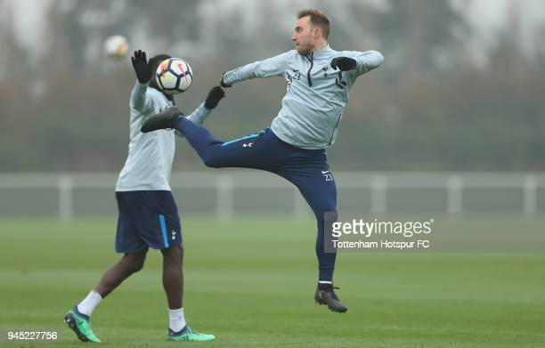 Christian Eriksen of Tottenham Hotspur during the Tottenham Hotspur training session at Tottenham Hotspur Training Centre on April 12 2018 in Enfield...
