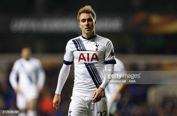 Christian Eriksen of Tottenham Hotspur during the UEFA Europa League match between Tottenham Hotspur and Fiorentina at White Hart Lane on February 25...