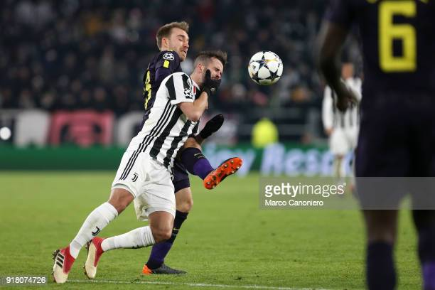 Christian Eriksen of Tottenham Hotspur Fc and Miralem Pjanic of Juventus Fc in action during the UEFA Champions League round of 16 first leg match...