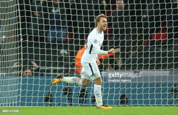 Christian Eriksen of Tottenham Hotspur FC celebrates after scoring a goal during the UEFA Champions League Group H soccer match between Tottenham...