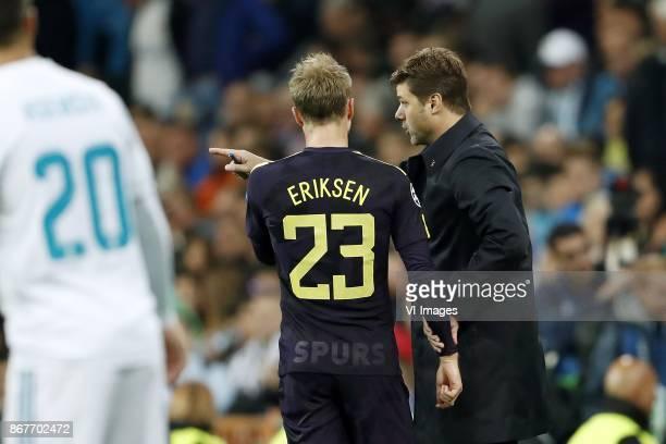 Christian Eriksen of Tottenham Hotspur FC coach Mauricio Pochettino of Tottenham Hotspur FC during the UEFA Champions League group H match between...