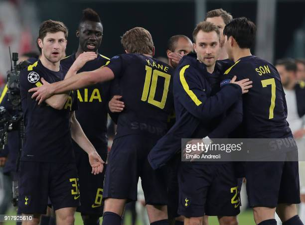 Christian Eriksen of Tottenham Hotspur greets his teammates at the end of the UEFA Champions League Round of 16 First Leg match between Juventus and...