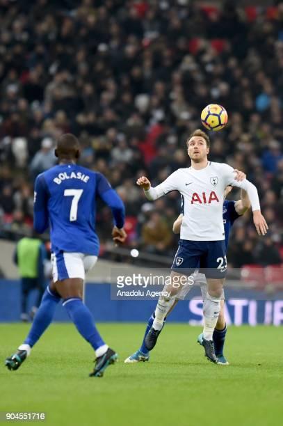 Christian Eriksen of Tottenham Hotspur in action during a Premier League football match between Tottenham Hotspur and Everton at Wembley Stadium in...