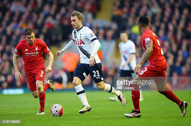 Christian Eriksen of Tottenham Hotspur in action during the Barclays Premier League match between Liverpool and Tottenham Hotspur at Anfield on April...