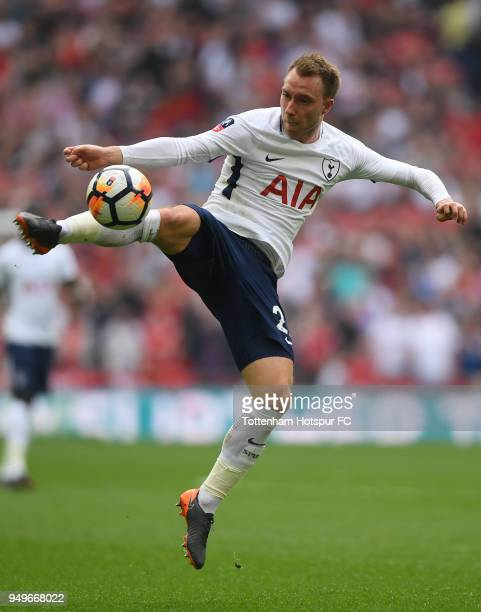 Christian Eriksen of Tottenham Hotspur in action during The Emirates FA Cup Semi Final between Manchester United and Tottenham Hotspur at Wembley...