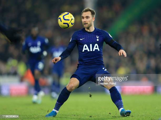 Christian Eriksen of Tottenham Hotspur in action during the Premier League match between Norwich City and Tottenham Hotspur at Carrow Road on...