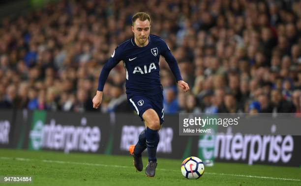 Christian Eriksen of Tottenham Hotspur in action during the Premier League match between Brighton and Hove Albion and Tottenham Hotspur at Amex...